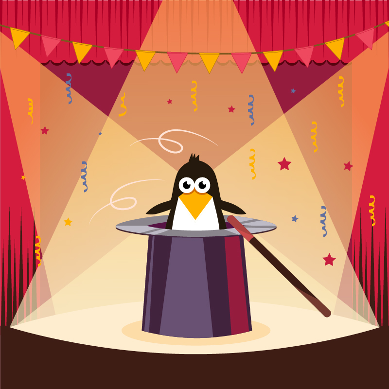 Cute penguin on the stage Photoshop brush