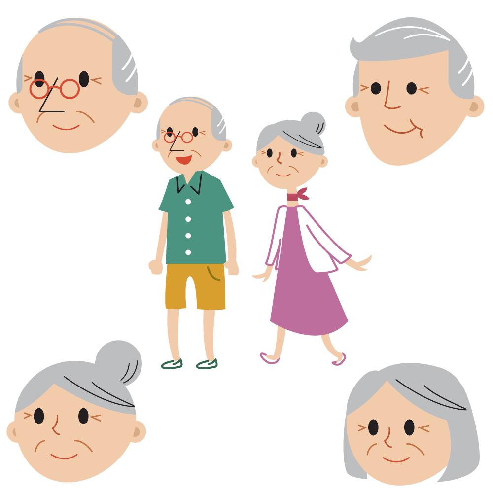 Senior couple full body and faces Photoshop brush