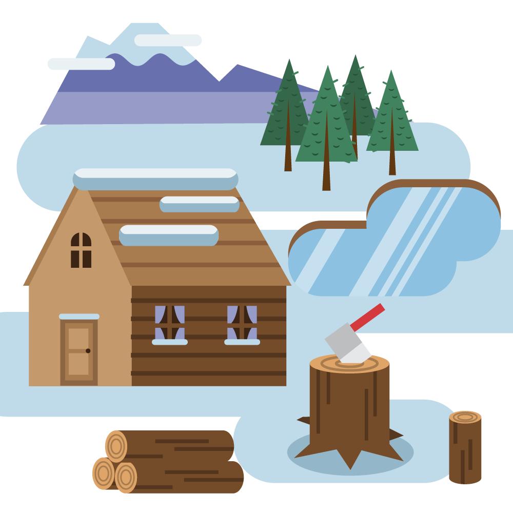 Log cabin in snowy landscape Photoshop brush