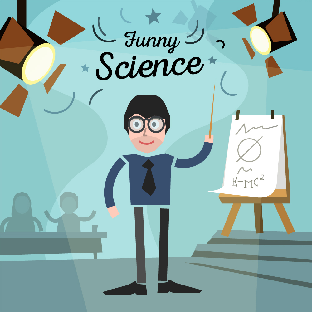 Scientist in a glass and some audience with chart. Free for vector design Photoshop brush