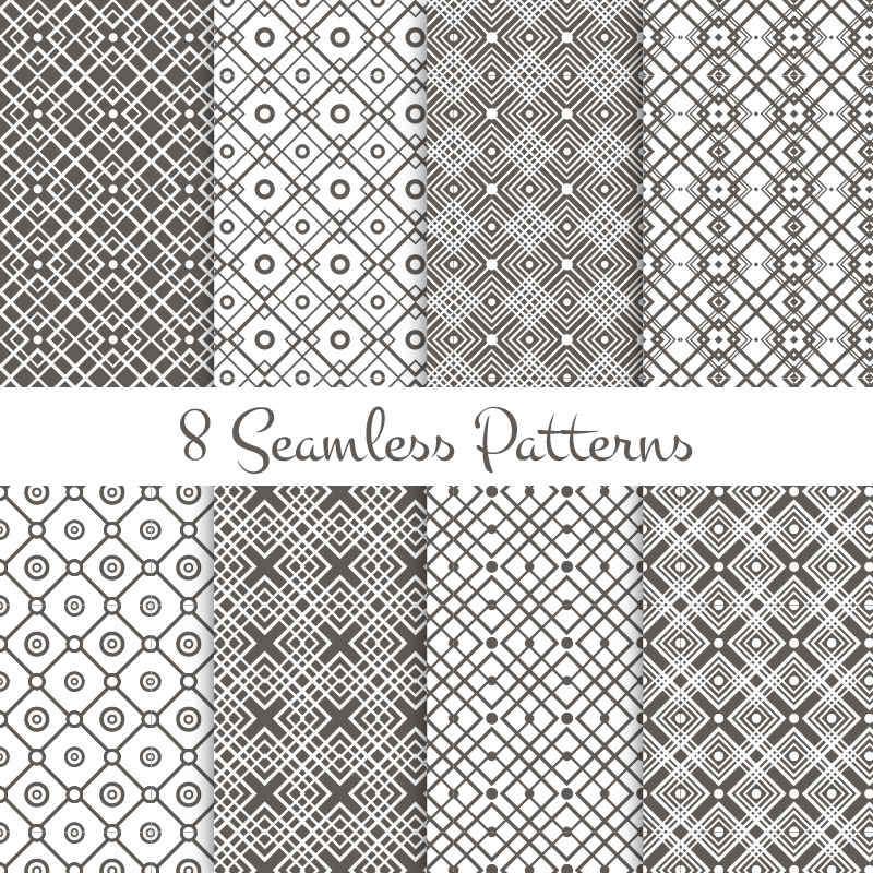 Black and white geometrical patterns set Photoshop brush