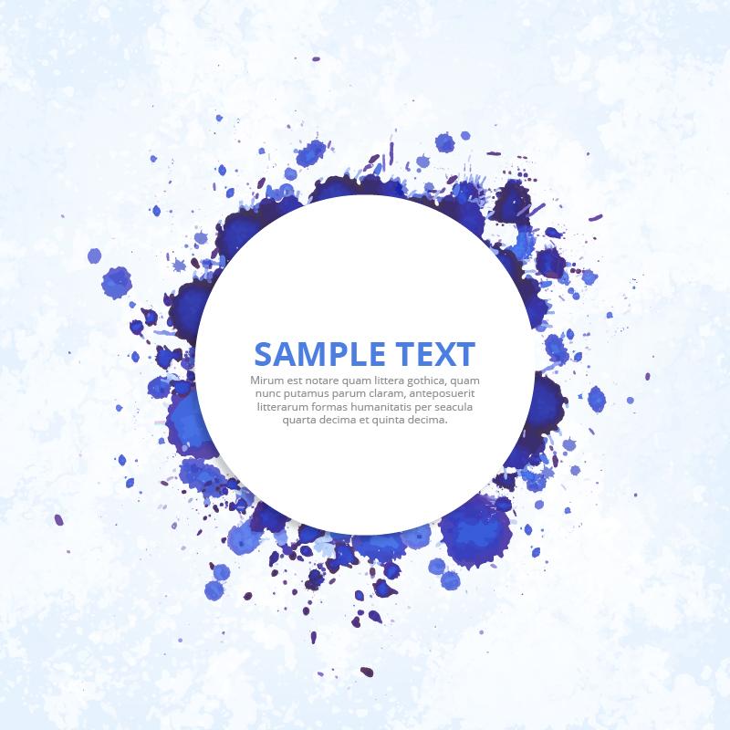 Modern badge with blue ink splashes Photoshop brush