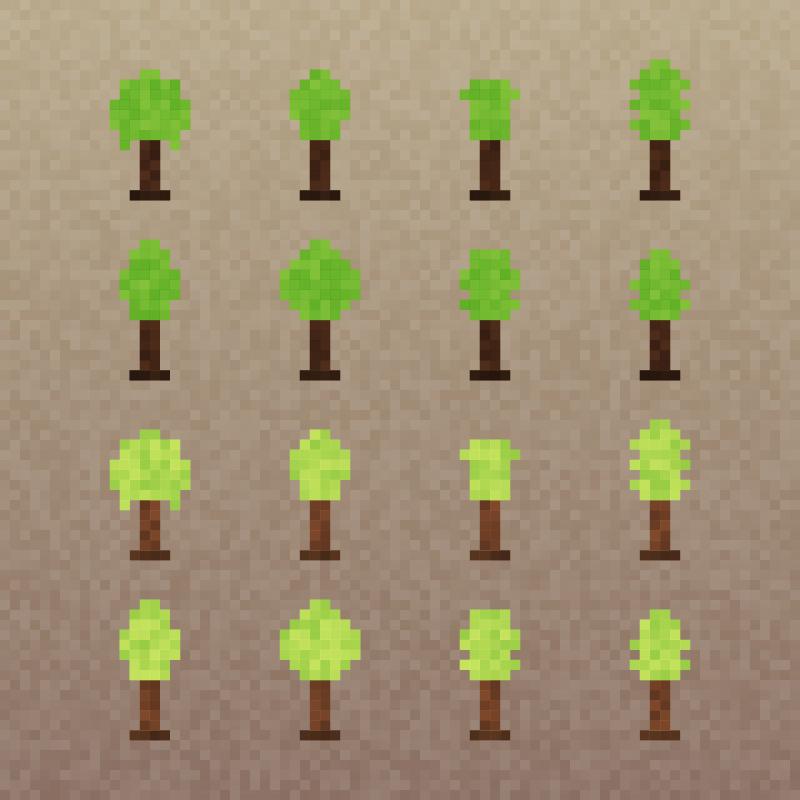 Pixel Trees Set Photoshop brush
