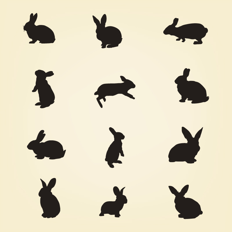 Rabbit Vector Silhouette Pack Photoshop brush