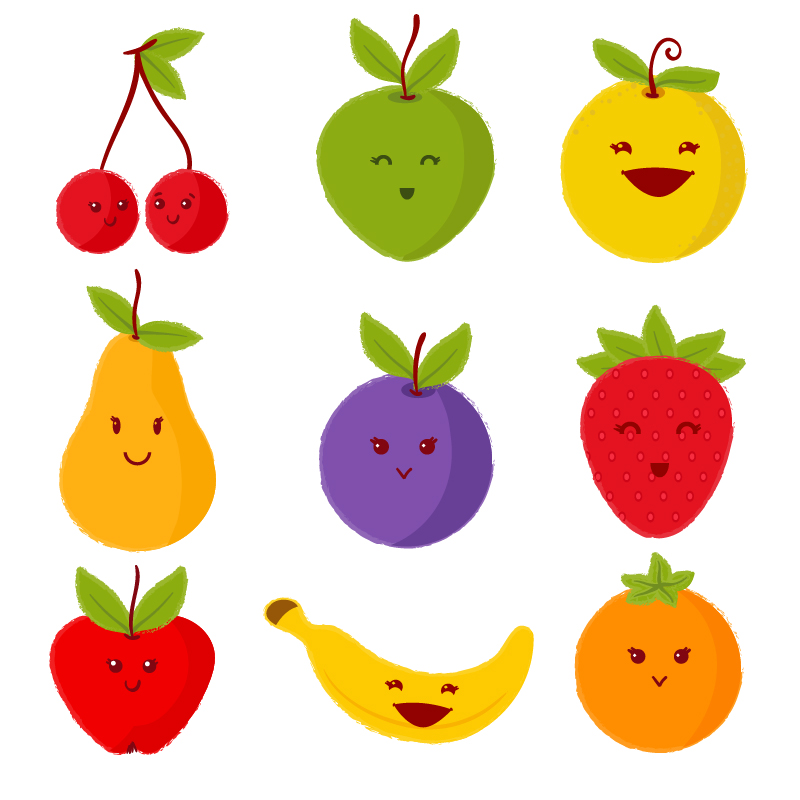 Set of cute fruits Photoshop brush