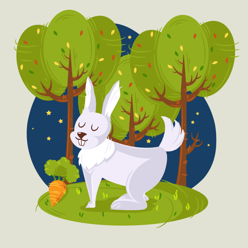 Rabbit in the woods vector illustration Photoshop brush