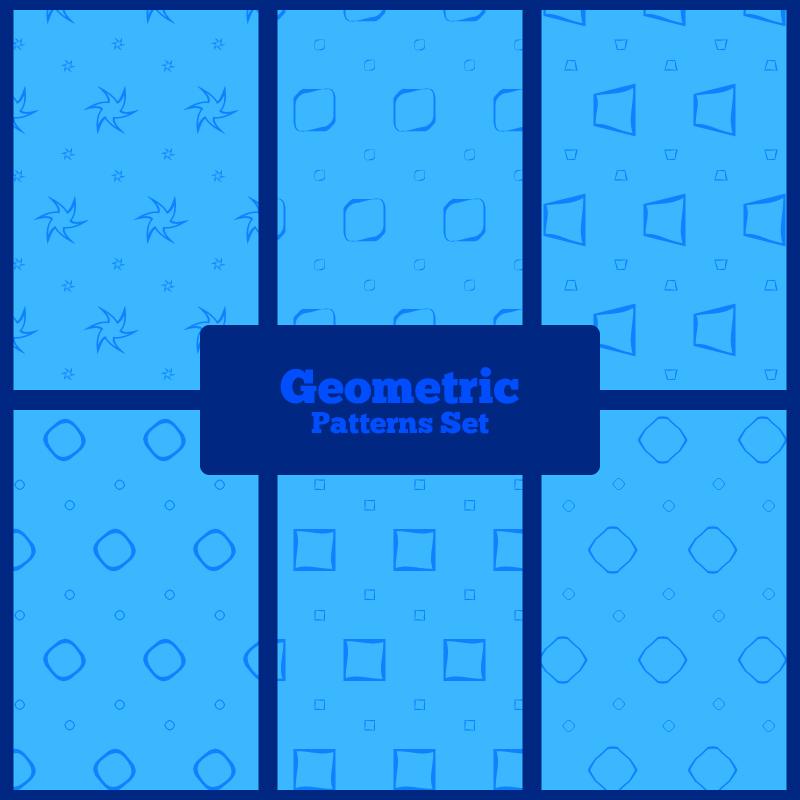Blue geometric patterns set Photoshop brush
