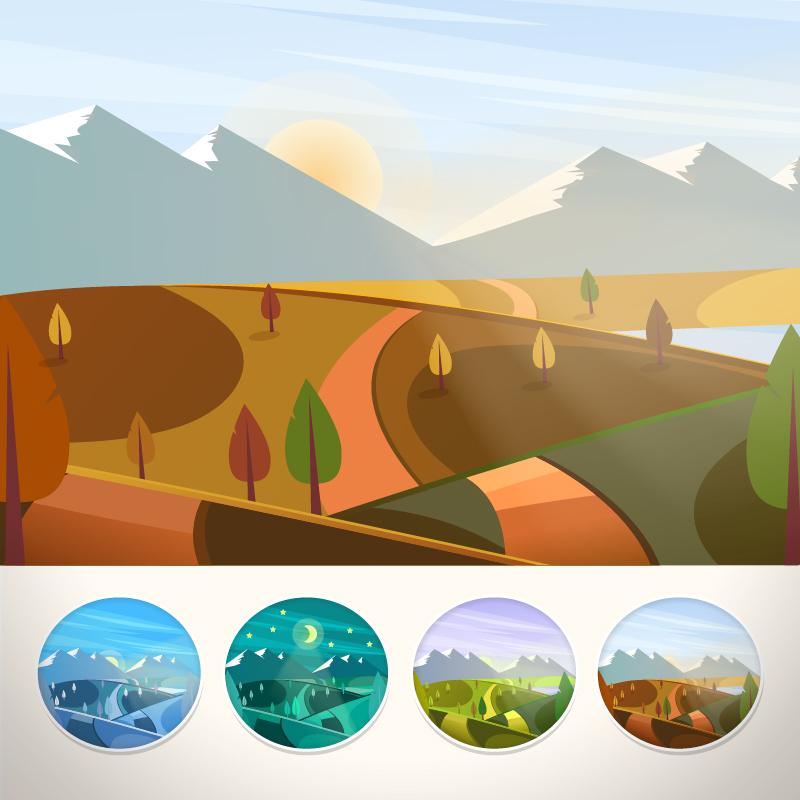 Mountain landscape in autumn season Photoshop brush