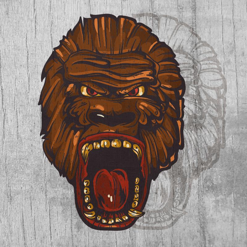Ape head  mascot on wood texture  Photoshop brush