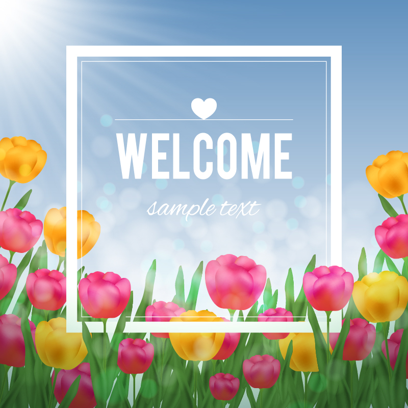 Floral illustration with tulips and white frame Photoshop brush