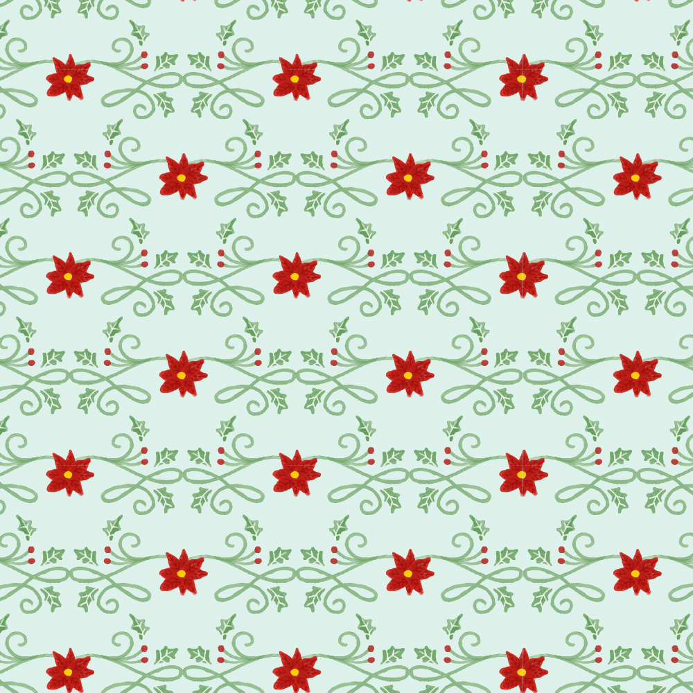 Christmas pattern with floral decoration Photoshop brush