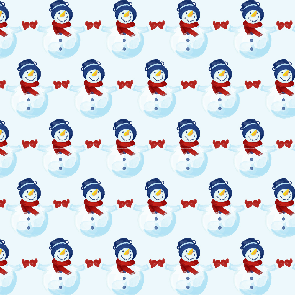 Christmas pattern with snowman Photoshop brush