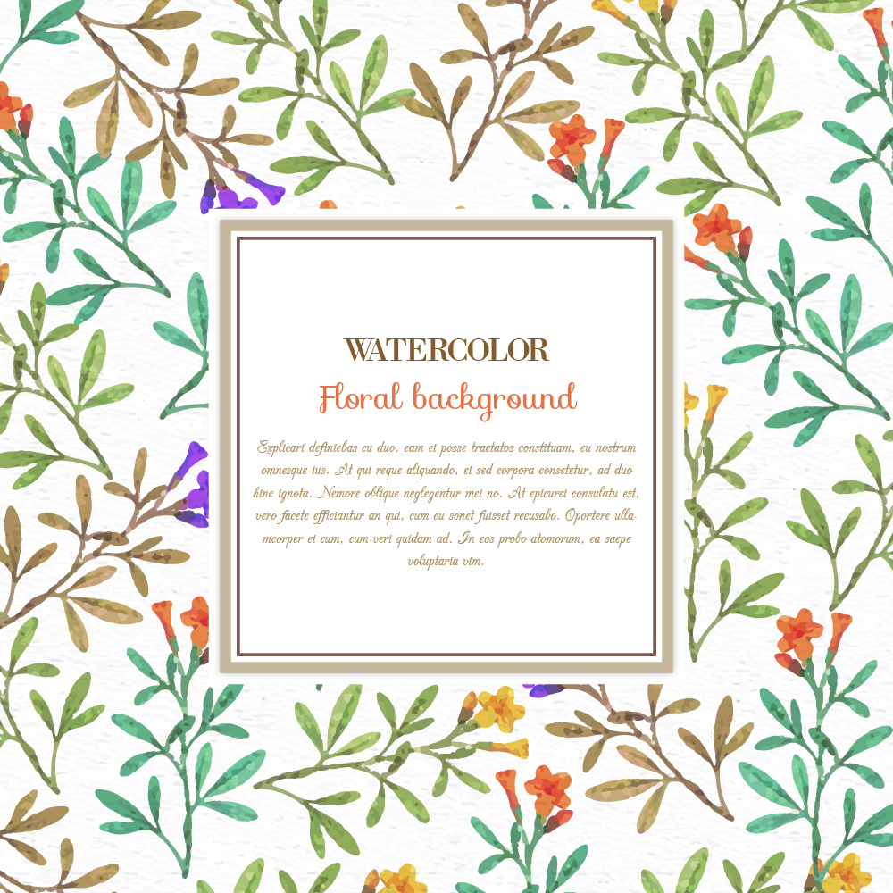 Watercolor floral background  with frame Photoshop brush