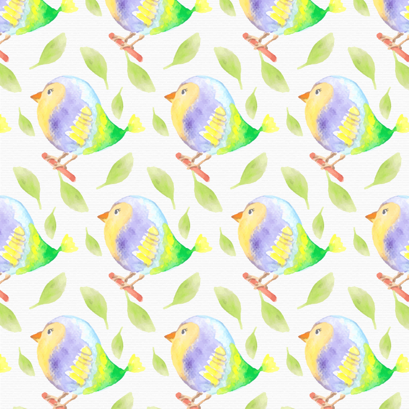 Watercolor bird pattern Photoshop brush