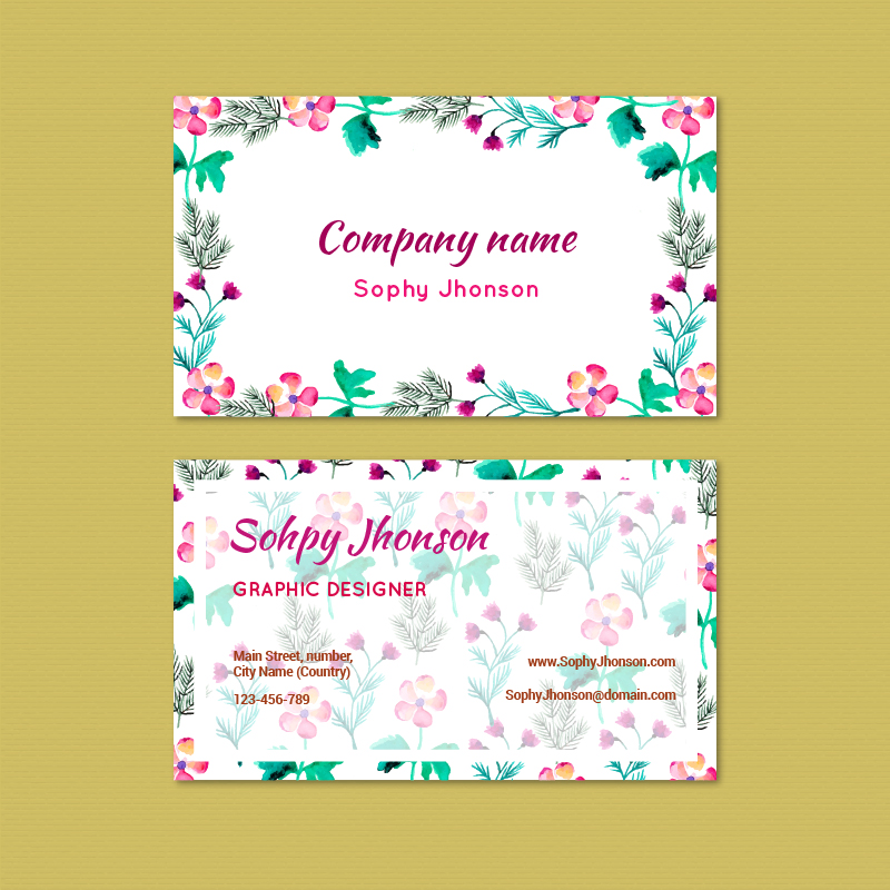 Watercolor business card with flowers Photoshop brush