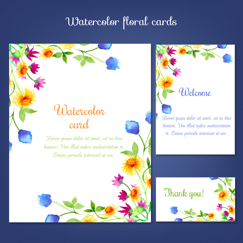 Watercolor cards with summer flower Photoshop brush