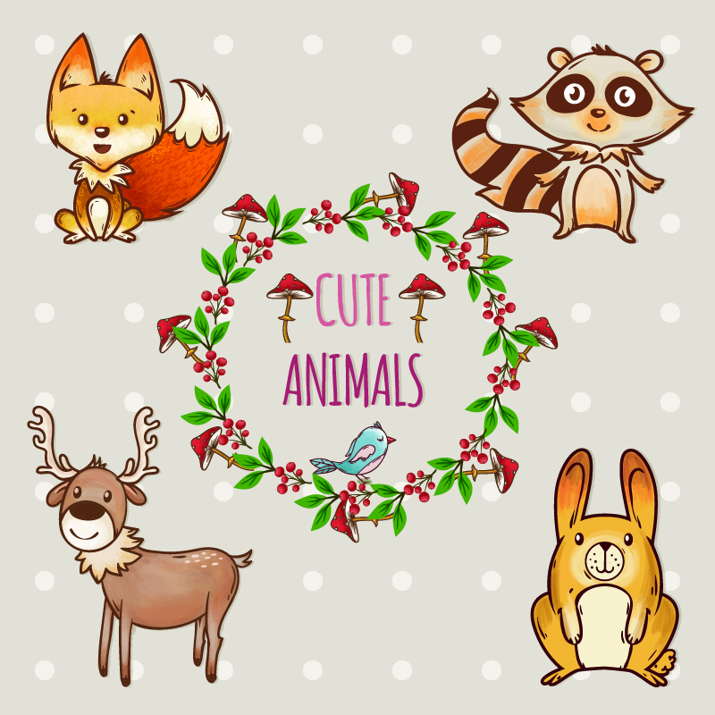 Cute set of animals with frame Photoshop brush